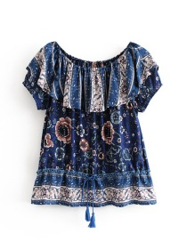 Fashion Navy Tassel Decorated Off-the-shoulder Blouse