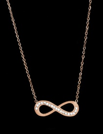 Fashion Rose Gold Full Diamond Decorated Necklace