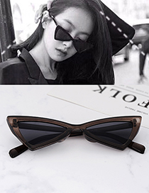 Fashion Dark Gray Triangle Shape Decorated Sunglassess