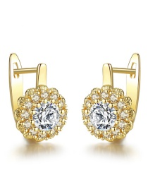 Fashion Gold Color Flower Shape Design Simple Earrings