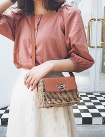 Fashion Brown Buckle Decorated Hand-woven Shoulder Bag