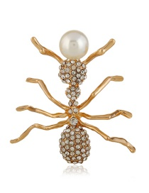 Fashion Gold Color Ant Shape Design Full Diamond Brooch