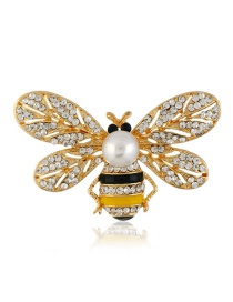 Fashion Gold Color Full Diamond Decorated Bee Brooch
