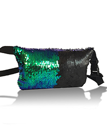 Fashion Green+black Paillette Decorated Color-matching Bag