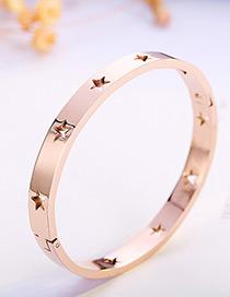 fashion Rose Gold Star Shape Decorated Bracelet