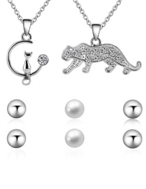 Fashion Silver Color Cats Pendant Decorated Jewelry Sets(5pcs)