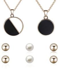 Fashion Gold Color Round Shape Pendant Decorated Jewelry Sets(5pcs)