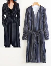 Fashion Navy Stripe Pattern Decorated Coat