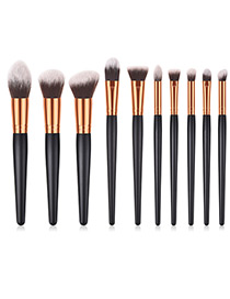 Fashion Black Round Shape Decorated Makeup Brush (10 Pcs )