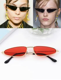 Fashion Claret Red Triangle Shape Decorated Sun Glasses