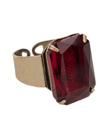 Fashion Claret Red Square Shape Decorated Opening Ring