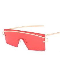 Fashion Red Hollow Out Design Sun Glasses