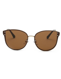 Fashion Brown Pure Color Decorated Sun Glasses
