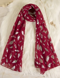 Fashion Claret Red Feather Pattern Decorated Dual-use Scarf