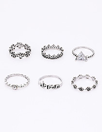 Fashion Silver Color Flowers Decorated Pure Color Ring(6pcs)