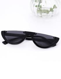 Fashion Black Half Framed Shape Design Sunglasses