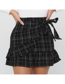 Fashion Black Grid Pattern Decorated Simple Skirt
