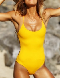 Fashion Yellow Pure Color Decorated Swimwear