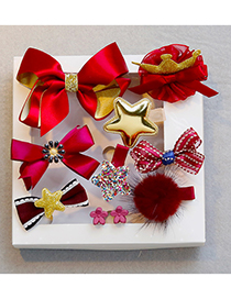 Fashion Gold Color+red Bowknot&star Shape Decorated Hair Clip (10 Pcs )