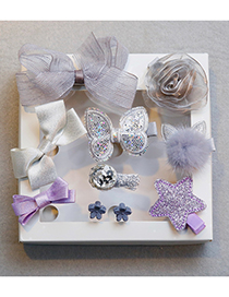 Fashion Silver Color+purple Bowknot Shape Decorated Hair Clip (10 Pcs )