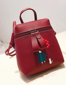 Fashion Red Girl Pattern Decorated Shoulder Bag