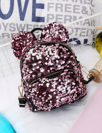 Fashion Pink Ear Decorated Paillette Backpack