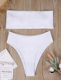 Sexy White Pure Color Decorated Simple Swimwear(2pcs)