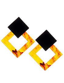 Fashion Black+yellow Square Shape Decorated Earrings