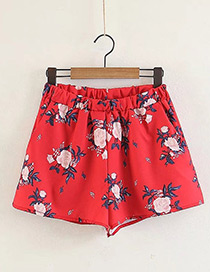 Fashion Red Flower Pattern Decorated Pants