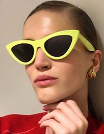 Fashion Yellow Cat Eye Shape Decorated Earrings