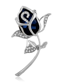 Fashion Blue Flower Shape Decorated Brooch
