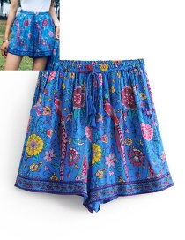 Fashion Blue Flowers Pattern Decorated Simple Shorts