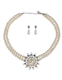 Elegant White Pearls&diamond Decorated Double Layer Jewelry Sets