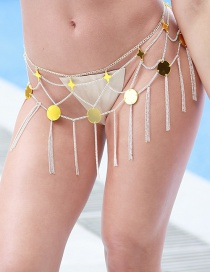 Elegant Gold Color Tassel Decorated Multi-layer Body Chain