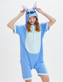 Lovely Blue Cartoon Pattern Decorated One-piece Pajamas(for Adult)