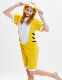 Lovely Yellow Tiger Pattern Decorated One-piece Pajamas(for Child)