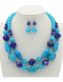Fashion Blue Beads Decorated Double Layer Jewelry Sets