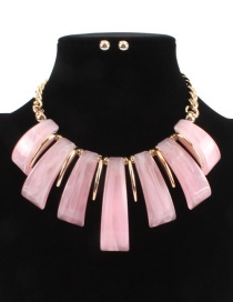 Fashion Pink Pure Color Design Irregular Shape Necklace(not Set)