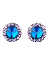 Fashion Blue+purple Geometric Shape Diamond Decorated Earrings