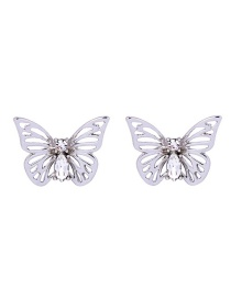 Fashion Silver Color Butterfly Shape Decorated Hollow Out Earrings