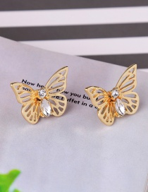 Fashion Gold Color Butterfly Shape Decorated Hollow Out Earrings