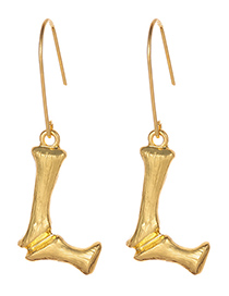 Fashion Gold Color Letter L Decorated Pure Color Earrings