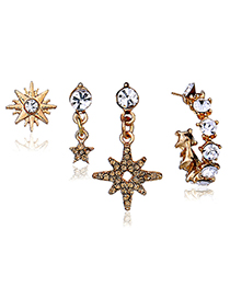 Trendy Gold Color Star Shape Decorated Earrings(4pcs)