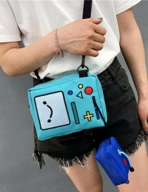 Fashion Light Blue Cartoon Pattern Decorated Shoulder Bag