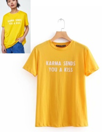 Fashion Yellow Letter Pattern Decorated Simple T-shirt
