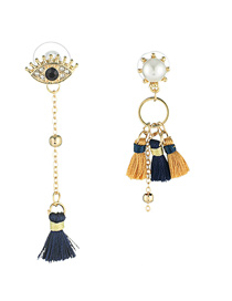 Elegant Orange+blue Tassel Decorated Asymmetric Earrings