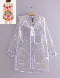 Fashion White Pure Color Design Waterproof Windcoat