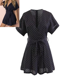 Fashion Black Dots Pattern Decorated Simple Jumpsuit