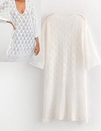 Fashion White Hollow Out Design Pure Color Robe