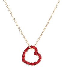Elegant Red Heart Shape Pendant Decorated Necklace